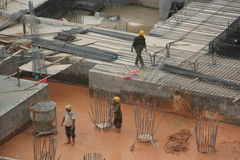 Workers are cleaning up mud Skyscraper construction site in Shenzhen Stock Image