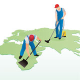 Workers cleaning world map. Conceptual illustration of two workers hoovering and cleaning map of world with white background and copy space royalty free illustration