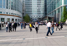 Workers and commuters in Canary Wharf Royalty Free Stock Photography