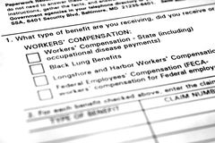 Workers Compensation Application Form Stock Photography