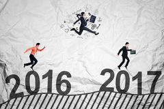 Workers compete toward 2017 Royalty Free Stock Image