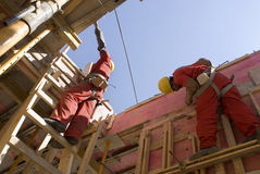 Workers Construct New Wall - Horizontal Royalty Free Stock Images