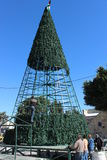 Workers constructing an artificial christmas tree in Bethlehem Stock Image