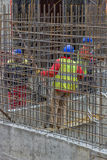 Workers constructing a rebar cage 2 Stock Photography