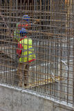 Workers constructing a rebar cage Stock Photography