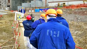 Workers on the construction of the Chernobyl nuclear power plant Royalty Free Stock Photography
