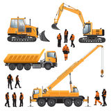 Workers and construction machines Stock Image
