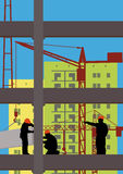 Workers on a construction site Royalty Free Stock Images