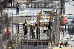 Workers on construction site Stock Image