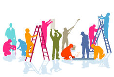Workers at construction site royalty free illustration