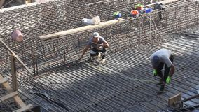 Workers at the construction site stock footage