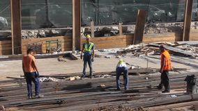 Workers at the construction site stock video footage
