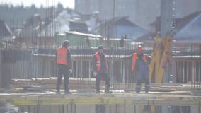 Workers at the construction site stock video