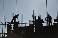 Workers in a contruction site in China. Stock Image