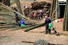 Pengzhou, China: Workers at Bamboo Factory Stock Image