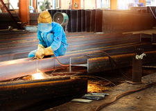 Workers cutting steel Stock Photos