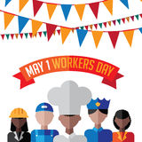 Workers Day bunting design Stock Photos