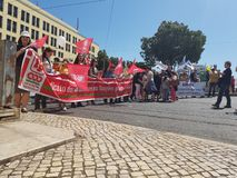 Workers day celebration in praca de Martin Monize stock photography