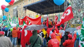 Workers day clebration meeting of CGIL Stock Photos