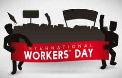 Workers' Day People Marching Silhouette, Vector Illustration. Silhouette of workers marching on 1st May in Workers' Day Royalty Free Stock Photos