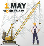 Workers day white poster, industrial background Royalty Free Stock Photo