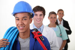 Workers with different professions. Four workers with different professions Stock Photo