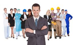 Workers of different professions together on white. Portrait of happy people of different professions together on white background royalty free stock photography