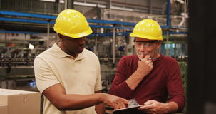 Workers discussing over clipboard stock video footage