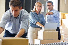 Workers In Distribution Warehouse. Packing Royalty Free Stock Image