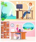 Workers Dreaming About Rest Two Colorful Banners. Man and woman sitting by table with computers, visualization of dreams in ovals with cute seascapes royalty free illustration