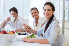 Workers eat lunch and drink coffee Stock Photo