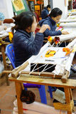 Workers embroider with silk Royalty Free Stock Image