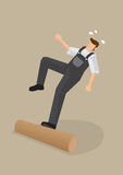 Workers Falling Backwards Vector Illustration. Vector cartoon illustration of a worker stepping on a log, losing balance and falling backwards  on plain Stock Photos