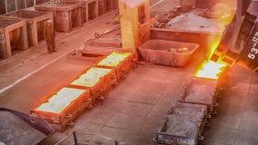 Workers on ferroalloy factory stock video