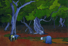 Workers in the field. Tree women picking in a field. Hand painted with acrylics on black paper Stock Images