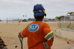 Workers are finishing in Copacabana for the Olympics Stock Photo