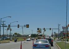 Workers fixing traffic lights, Oklahoma City, Oklahoma. Stock Photo
