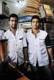 Workers in Fruit Juice Shop in Shiraz city stock image