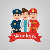 Workers group people profession employee cartoon banner. Vector illustration Royalty Free Stock Images