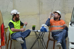 Workers having  a lunch break Stock Images