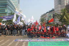 Workers held demonstration in Jakarta Stock Images