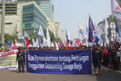 Workers held demonstration in Jakarta Royalty Free Stock Photos