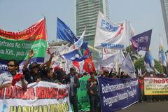 Workers held demonstration in Jakarta Royalty Free Stock Images