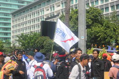 Workers held demonstration in Jakarta Royalty Free Stock Photography