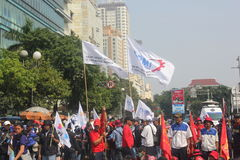 Workers held demonstration in Jakarta. Jakarta, Indonesia, July 12, 2012. Thousands of workers marched in Jakarta to protest against low wages Royalty Free Stock Photos