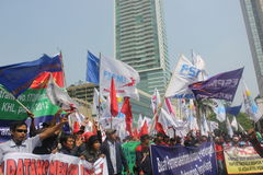 Workers held demonstration in Jakarta Stock Photography