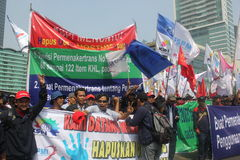 Workers held demonstration in Jakarta Royalty Free Stock Photo