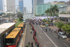 Workers held demonstration in Jakarta. Jakarta, Indonesia, July 12, 2012. Thousands of workers marched in Jakarta to protest against low wages Royalty Free Stock Photography