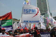 Workers held demonstration in Jakarta Stock Photo