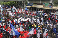 Workers held demonstration in Jakarta Stock Photos